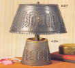 Willow tin lamp shade and lamp