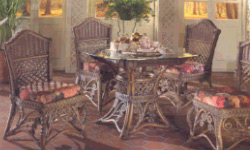 Wicker Dining room set with glass top table and chairs